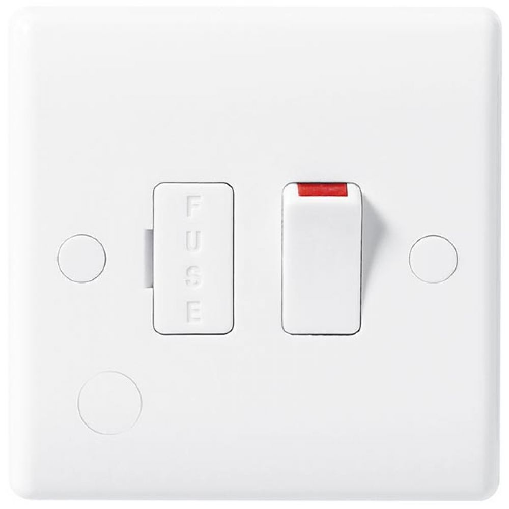 BG White Round Edge 13 Amp Switched & Fused Connection Unit with Flex Outlet