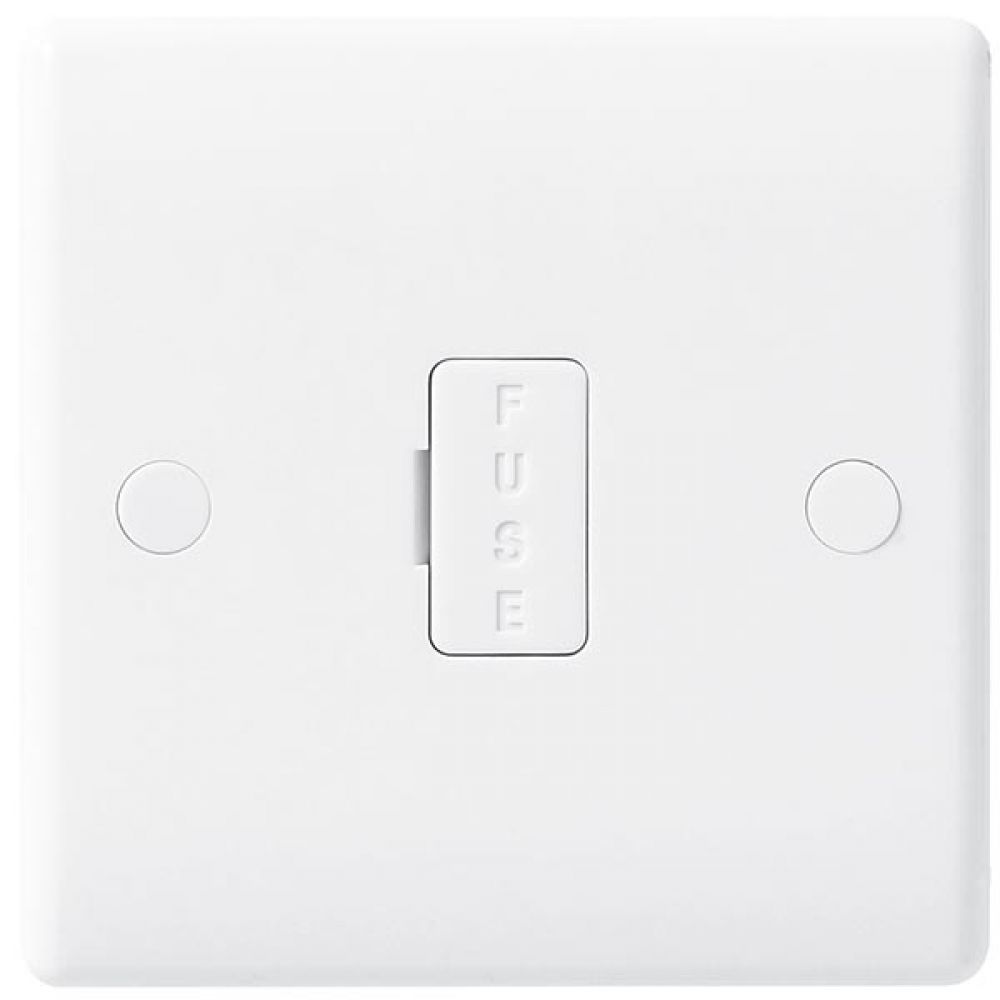 BG White Round Edge 13 Amp Unswitched & Fused Connection Unit