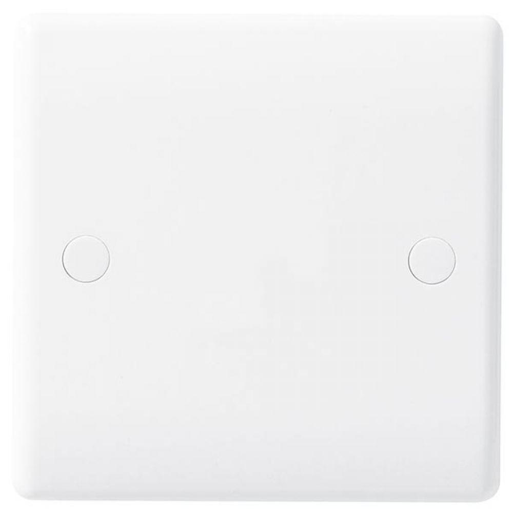BG White Round Edge 25 Amp Flex Outlet Plate with Bottom Entry