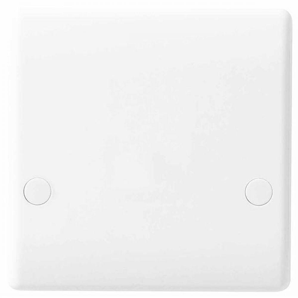 BG White Round Edge 45 Amp Flex Outlet Plate with Bottom Entry