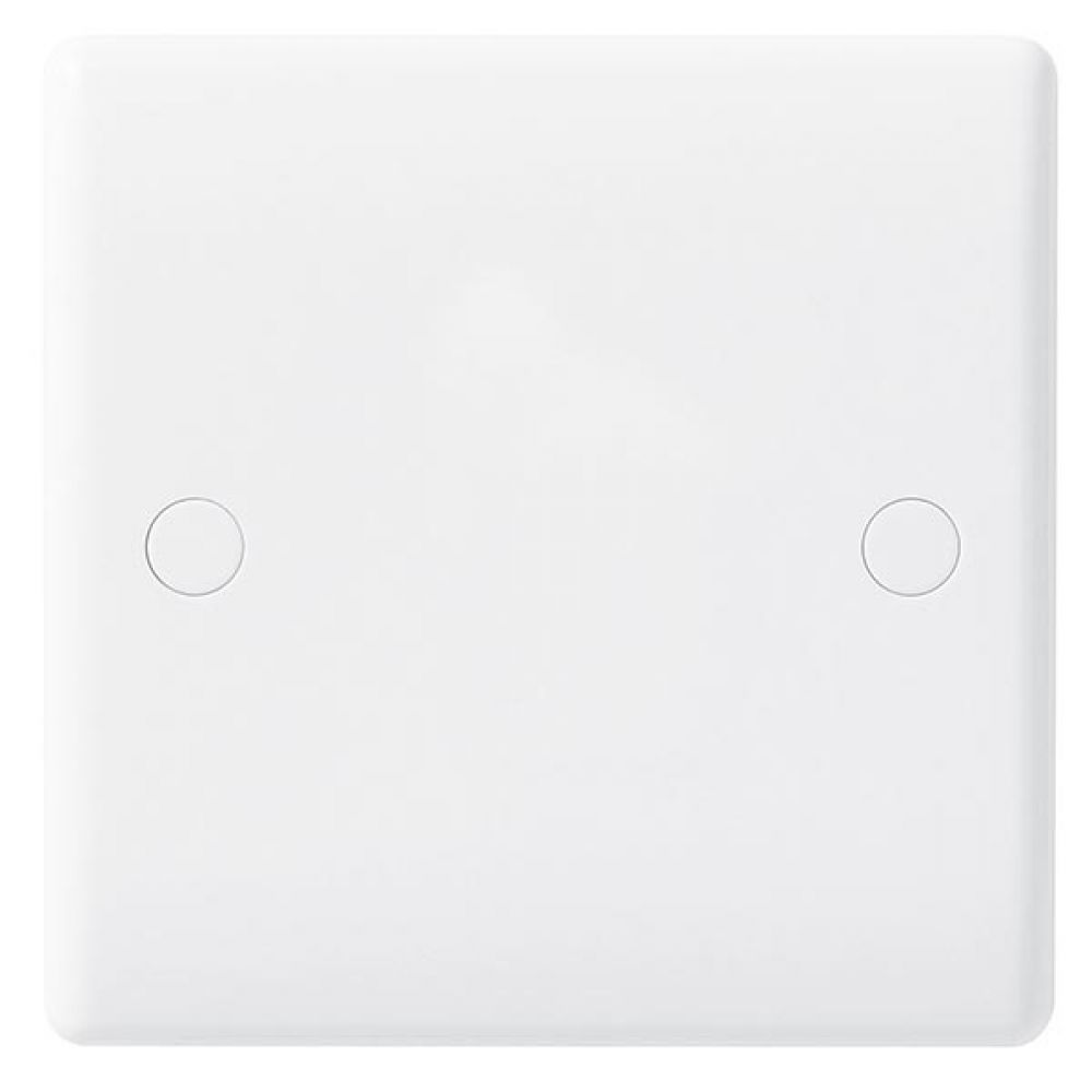 BG White Round Edge 1 Gang Blank Plate