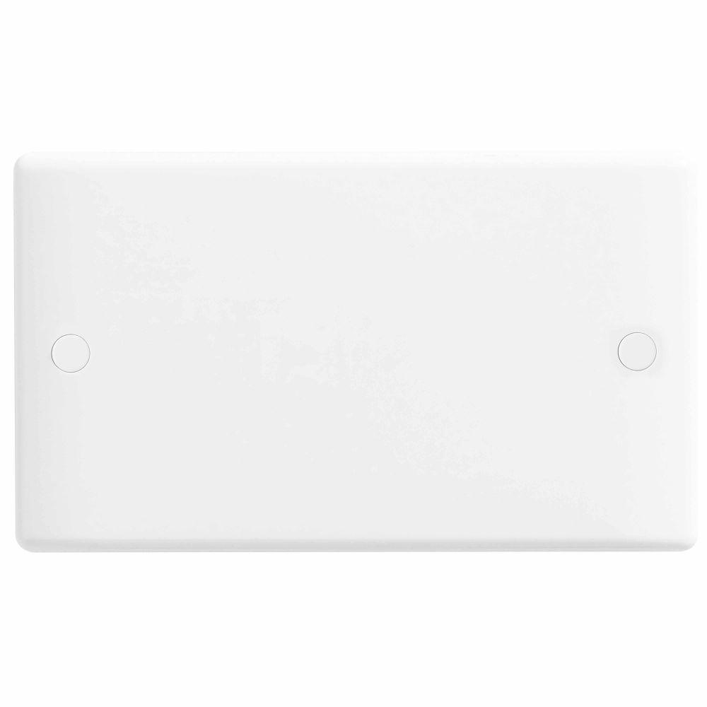 BG White Round Edge 2 Gang Blank Plate