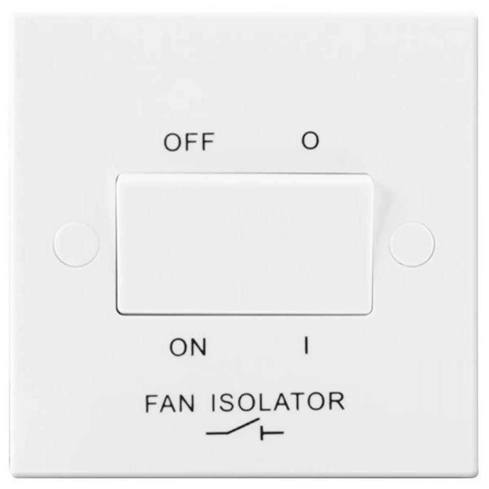 BG White Square Edge Triple Pole Fan Isolator Switch