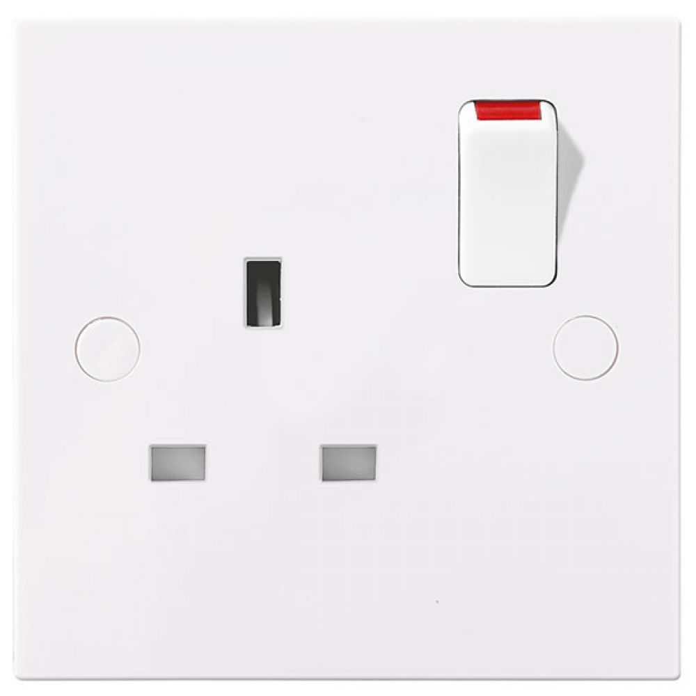 BG White Square Edge 1 Gang SP 13A Switched Socket