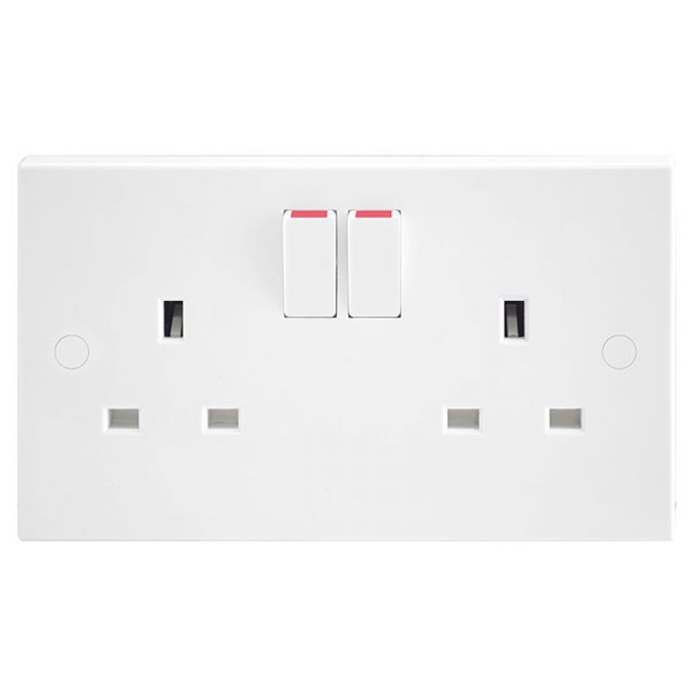 BG White Square Edge 2 Gang SP 13A Switched Socket