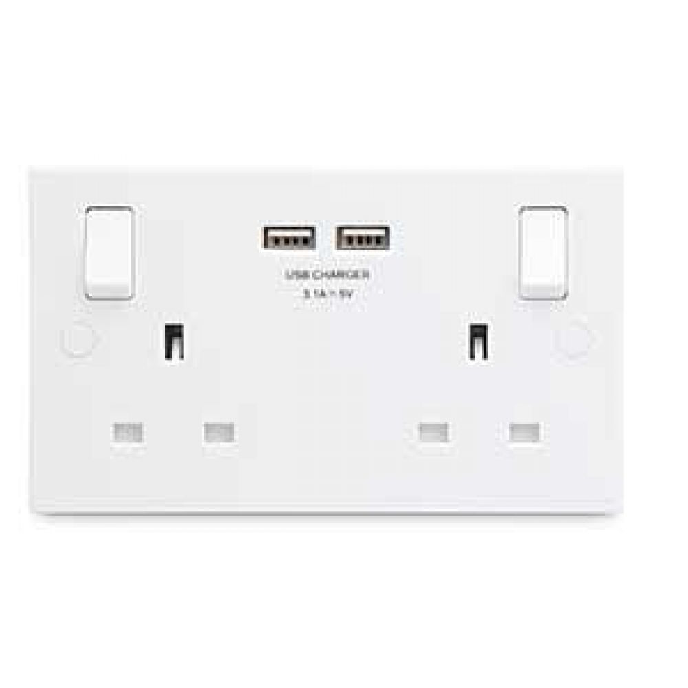 BG White Square Edge 2 Gang Single Pole 13A Switched Socker with 2 x USB (3.1A)