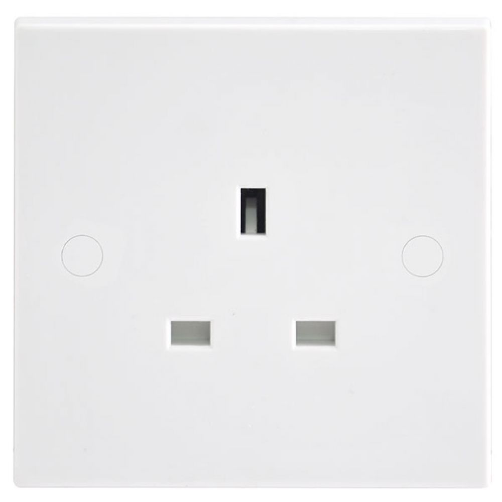 BG White Square Edge 1 Gang Unswitched Socket
