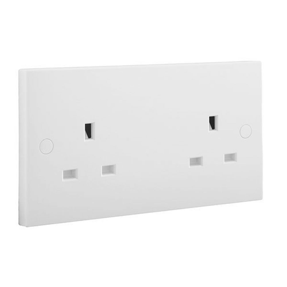 BG White Square Edge 2 Gang Unswitched Socket