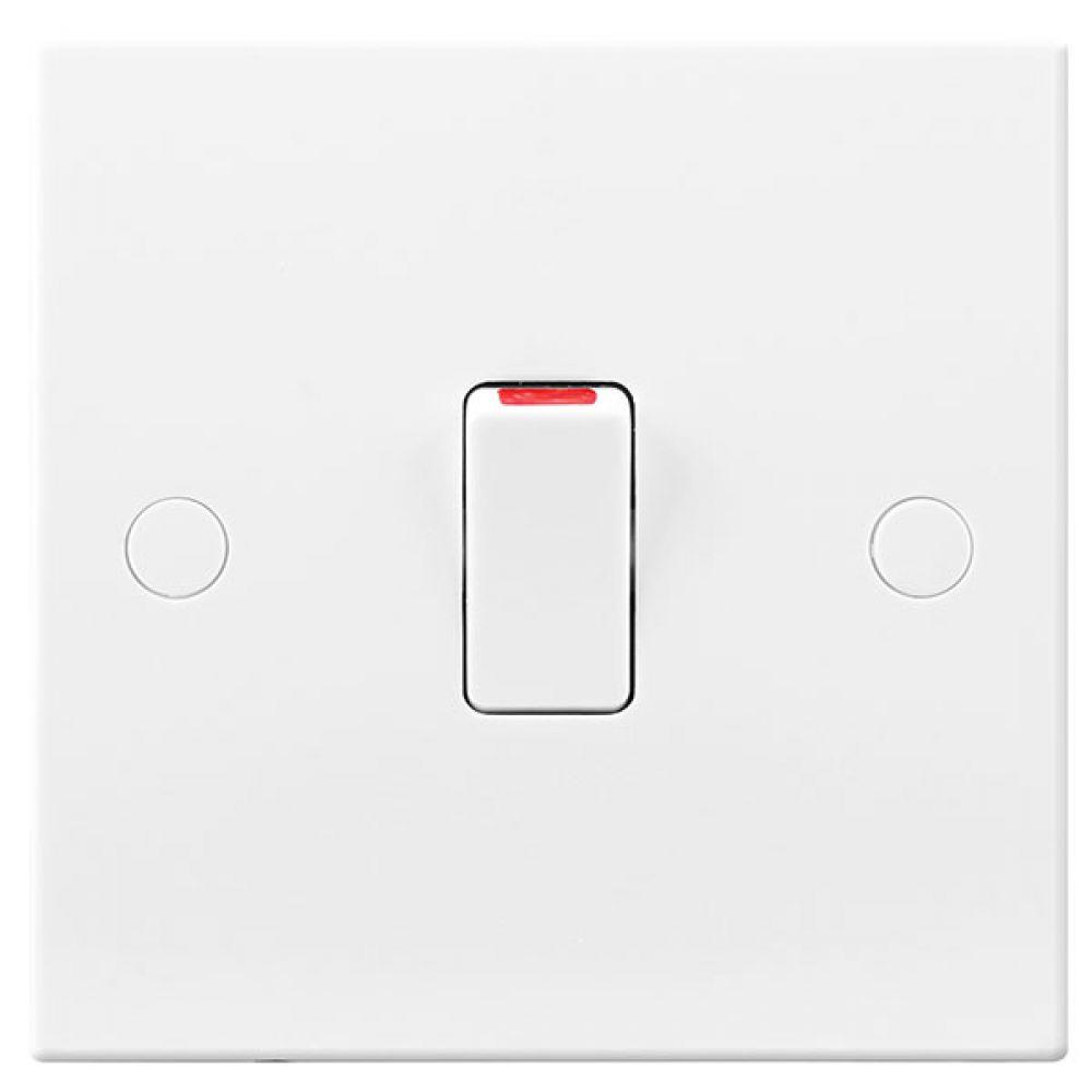 BG White Square Edge 20 Amp Double Pole Switch