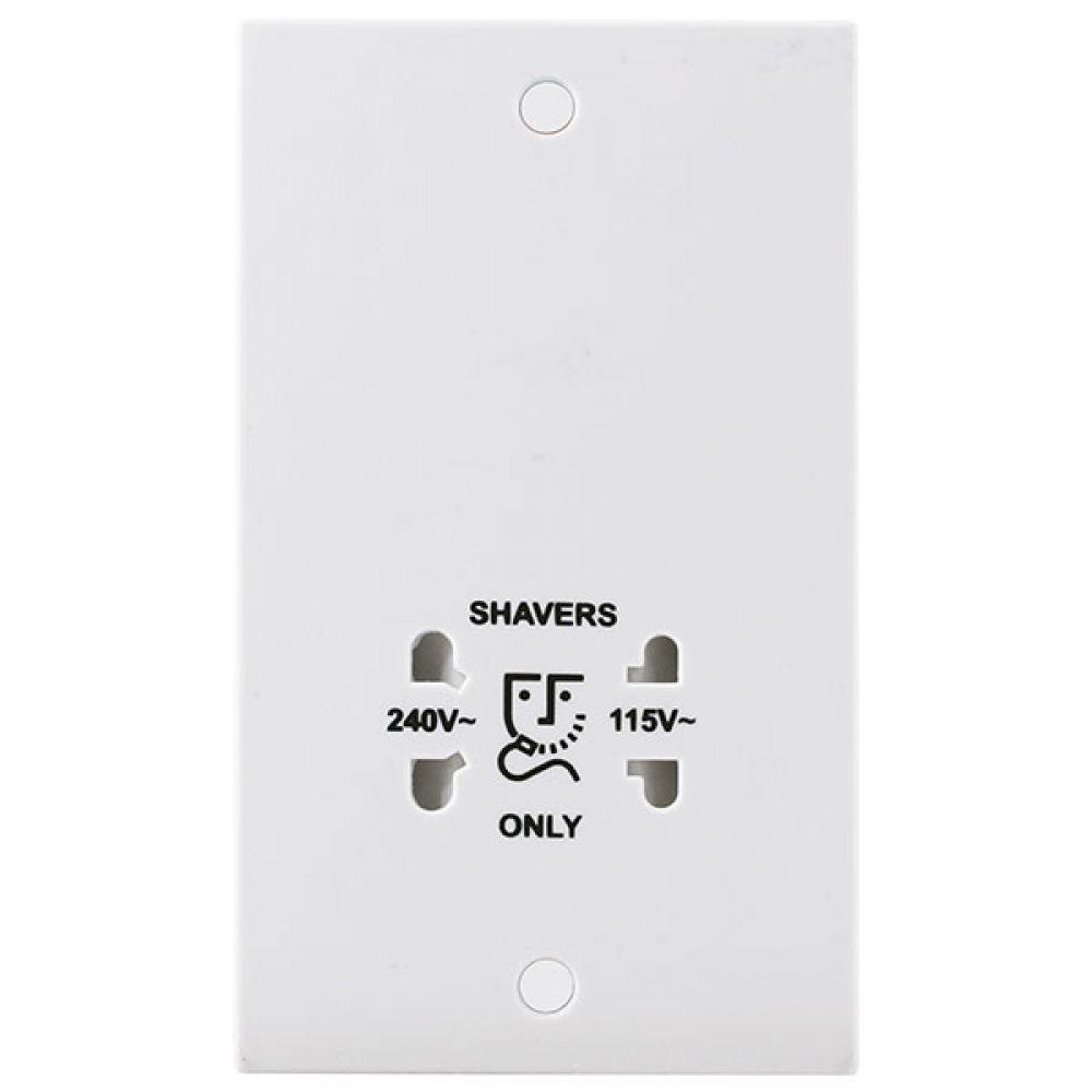 BG White Square Edge 115/230V Dual Voltage Shaver Socket