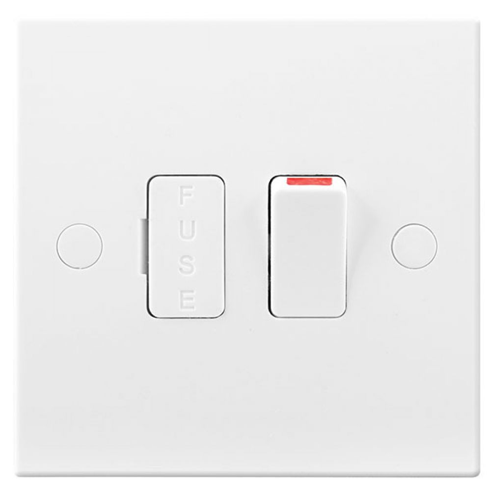 BG White Square Edge 13 Amp Switched & Fused Connection Unit