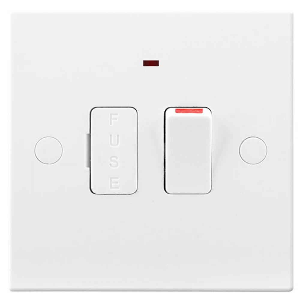 BG White Square Edge 13 Amp Switched & Fused Connection Unit with Neon