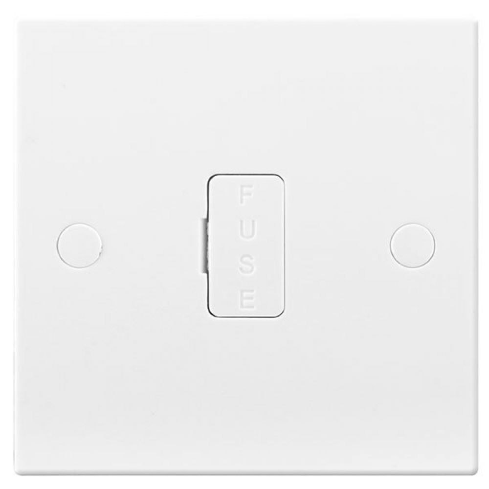 BG White Square Edge 13 Amp Unswitched & Fused Connection Unit