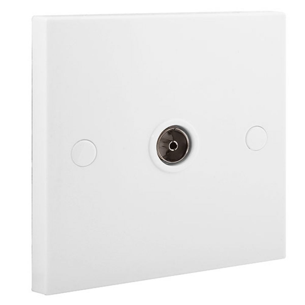 BG White Square Edge 1 Gang Isolated Co-axial Socket