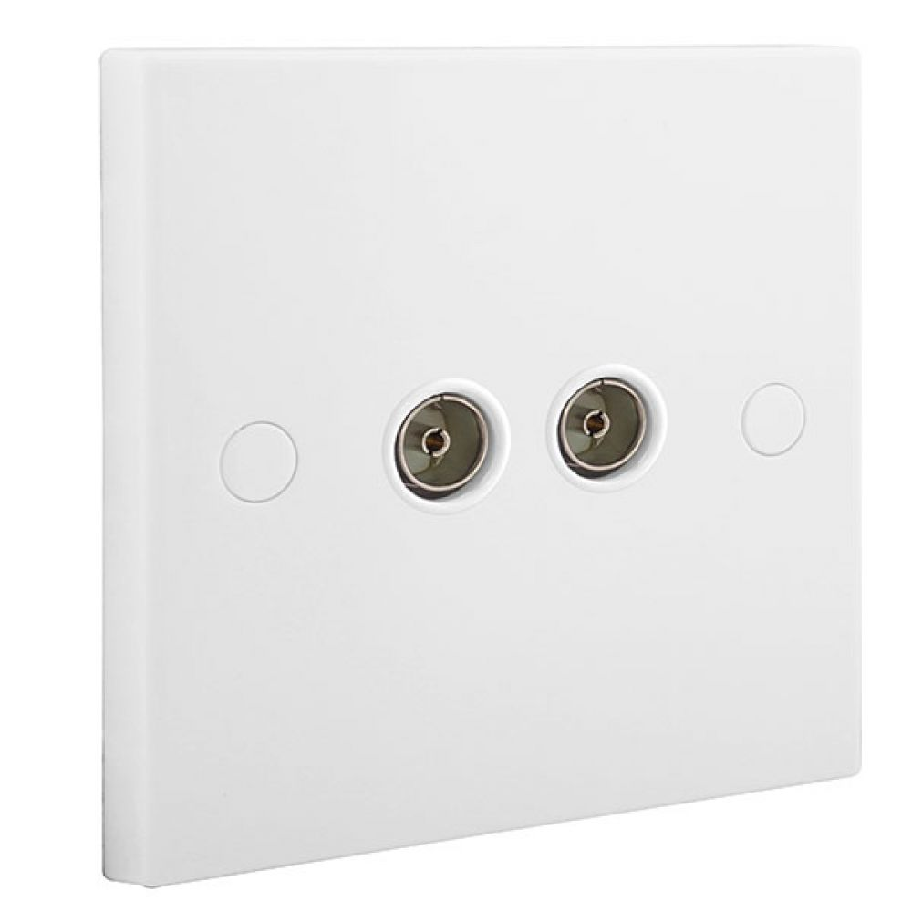 BG White Square Edge 2 Gang Isolated Co-axial Socket