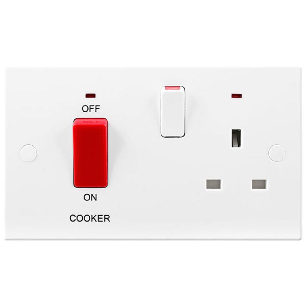 BG White Square Edge 45 Amp Double Pole Cooker Control Unit with Socket & Neons