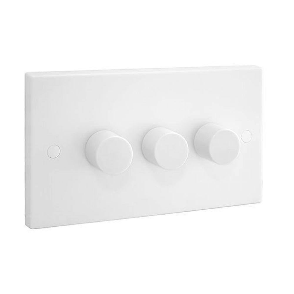 BG White Square Edge 3 Gang 2 Way 400W Push Dimmer Switch