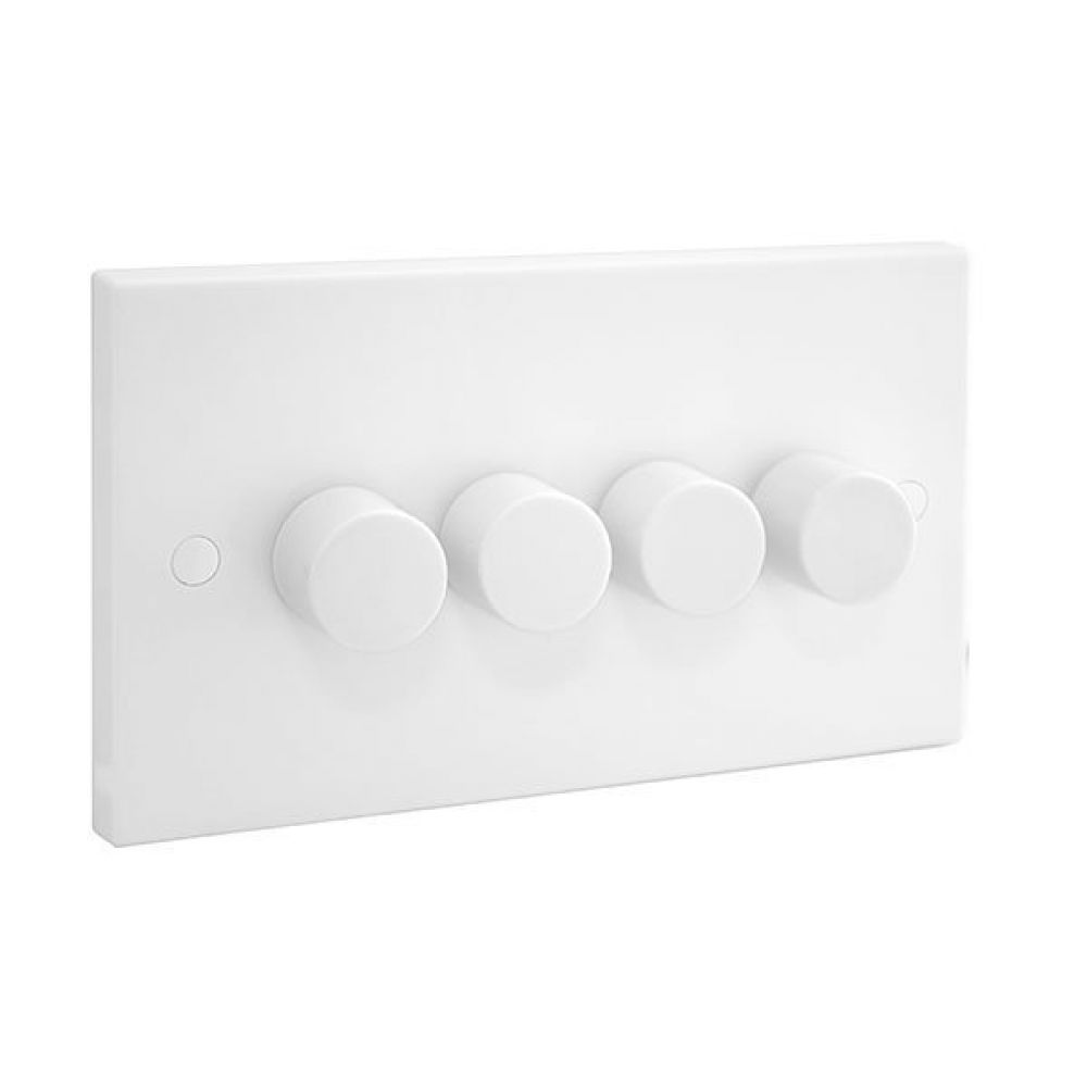 BG White Square Edge 4 Gang 2 Way 400W Push Dimmer Switch
