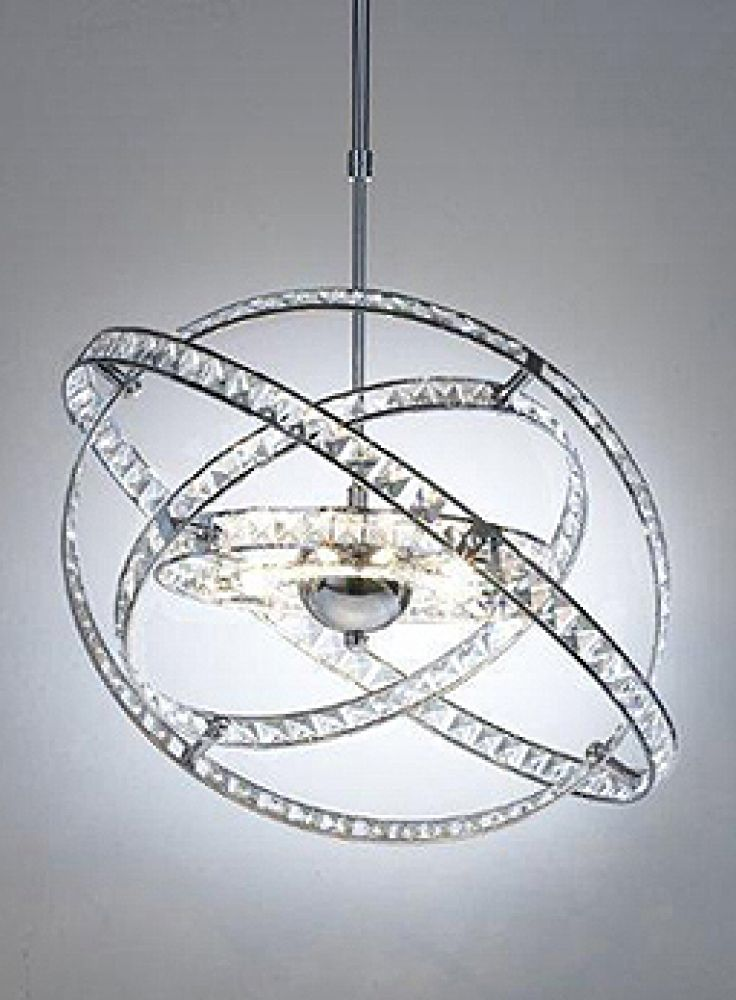Dar Lighting Low Voltage Eternity Spherical 10 Light Pendant in Polished Chrome with Crystal decorat