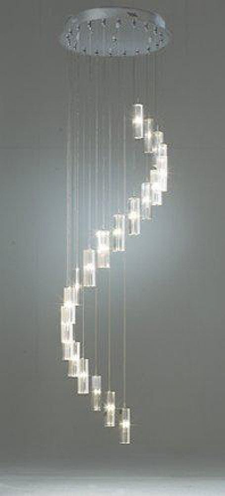 Dar Lighting Galileo 20 Light Stair Cluster Pendant, Polished Chrome Finish with Crystal Glass