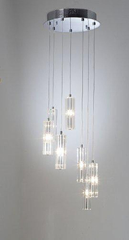 Dar Lighting Galileo 7 Light Cluster Pendant, Finished in Polished Chrome with Crystal Glass