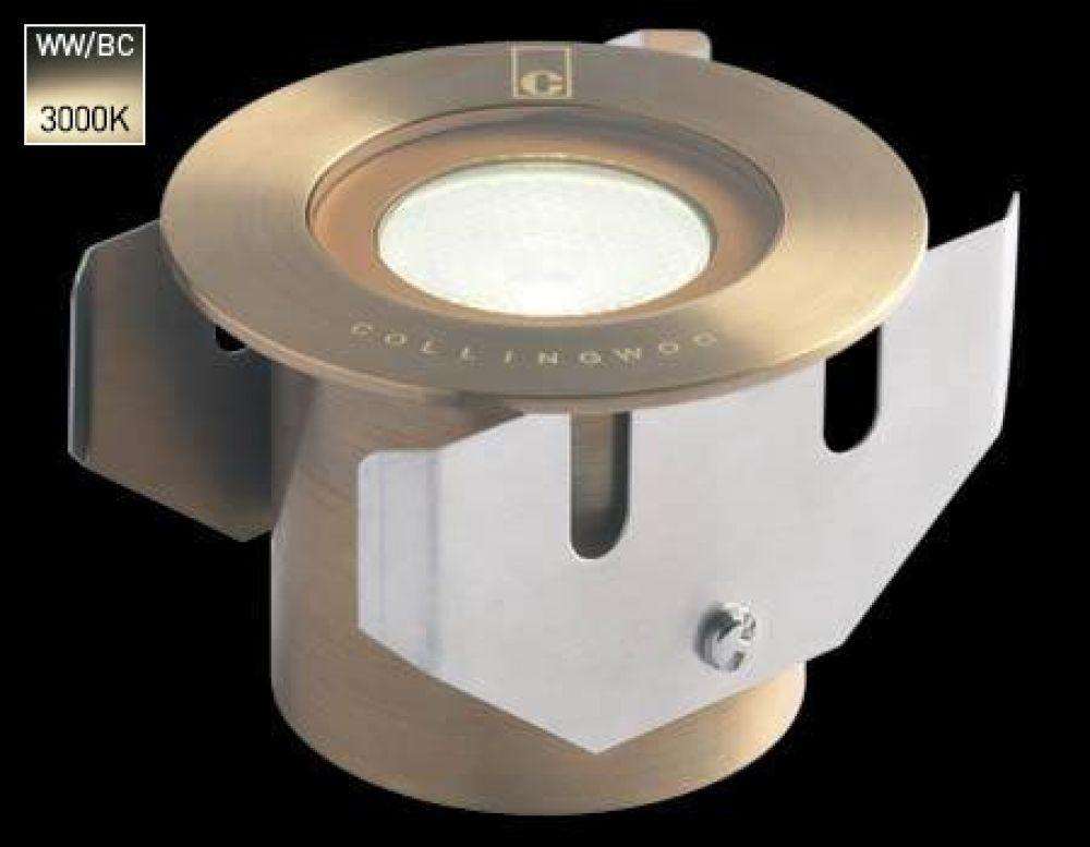 Collingwood 1W LED Ground Light Antique Brass Bezel with Warm White 3000K LED