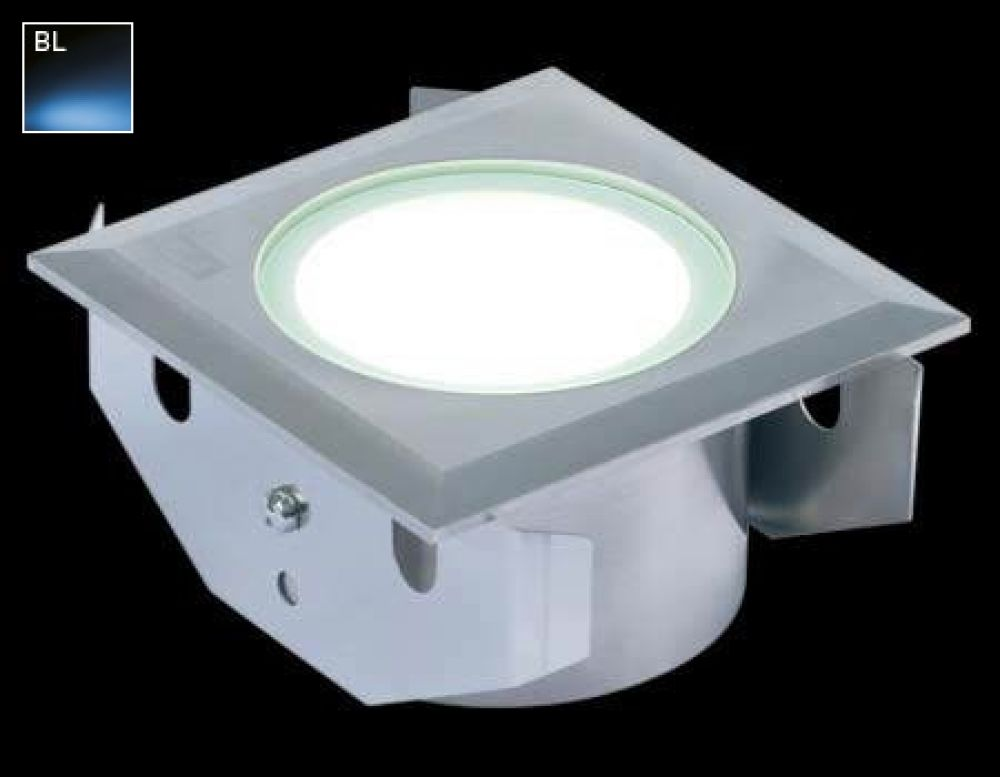 Collingwood 3W Square LED Ground Light Stainless Steel with Blue LED