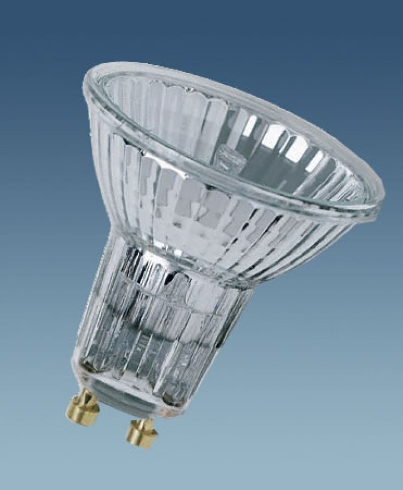 50W GU10 51mm Wide Flood Tungsten Halogen Lamp c/w 50 deg Beam Angle 240V