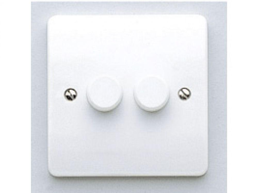 MK Logic Plus K1533WHI White 2 Gang 2 Way Rotary Dimmer Switch 250W