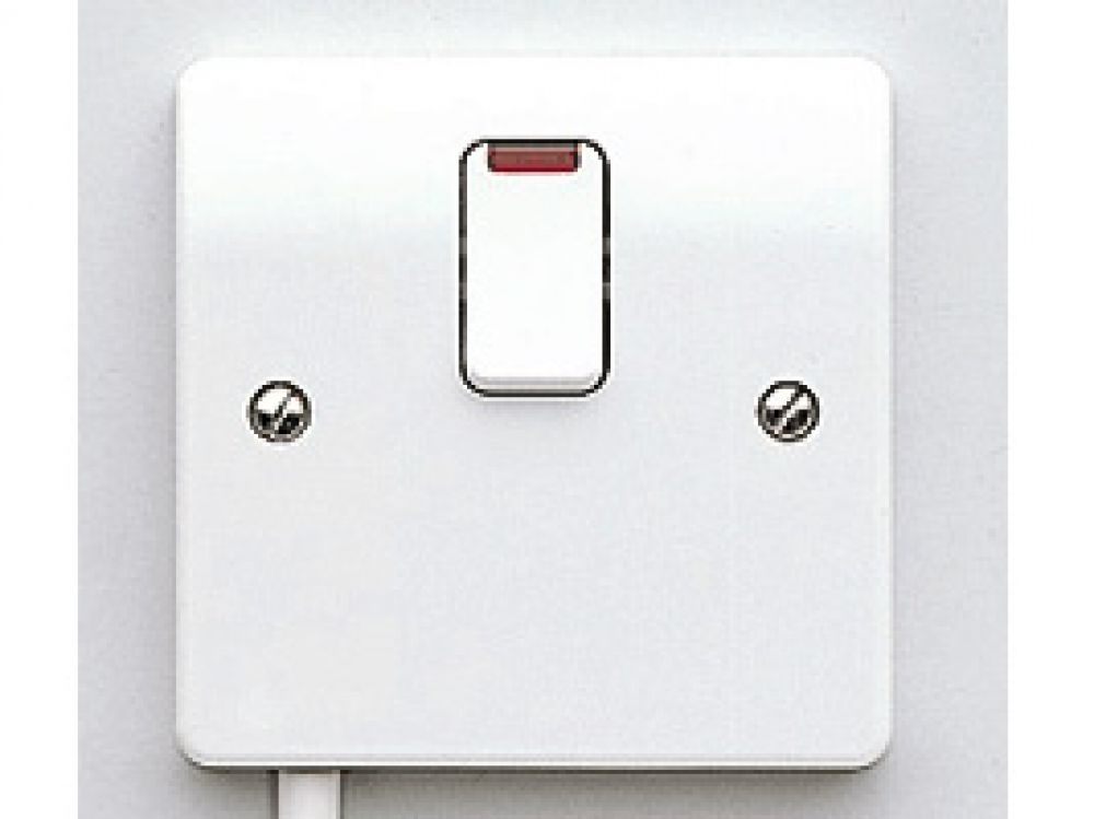 MK Logic Plus K5423WHI White DP Switch 20A with flex outlet in base and Neon (flush)