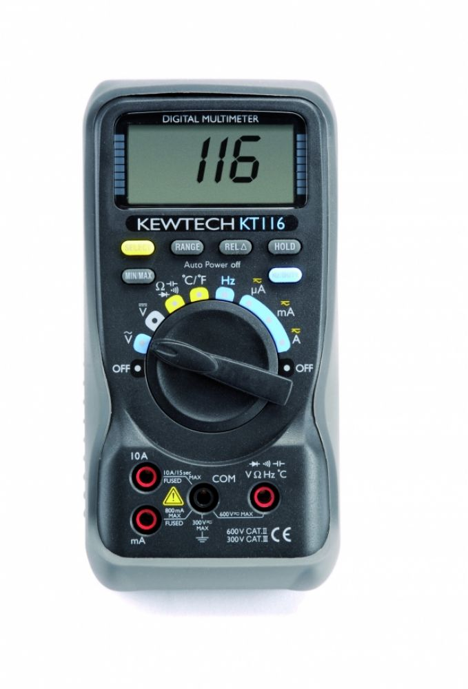 Kewtech Digital 600V & 10A AC/DC & Temperature Multimeter