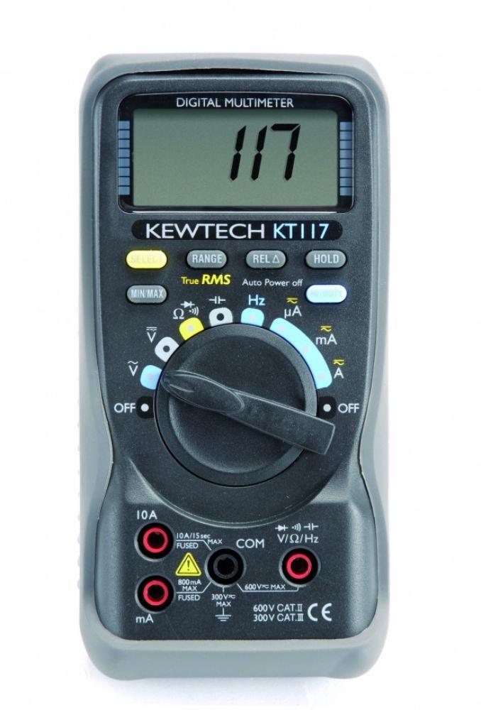 Kewtech KT117 Digital 600V & 10A AC/DC TRMS Multimeter