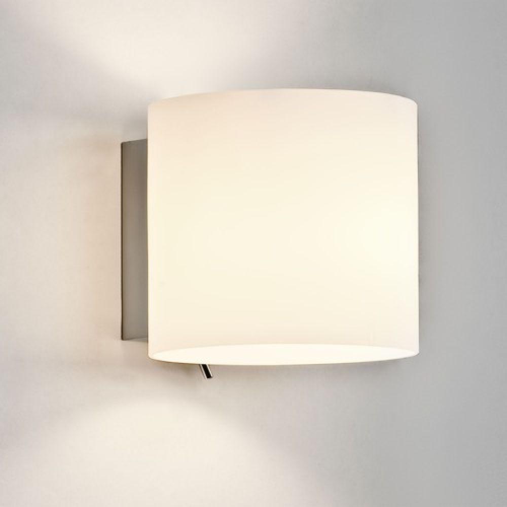 Astro Lighting 1074001 Luga 0411 Interior Wall Light. Painted Silver & White Glass Finish.
