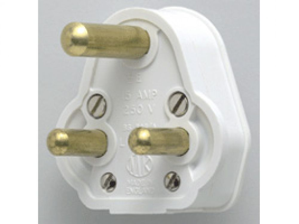 MK Plug Tops 505WHI White Round Pin Plug 5A