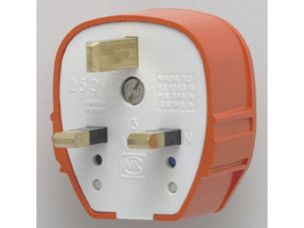 MK Plug Tops 655ORG Orange Fused Tough Plug 13A