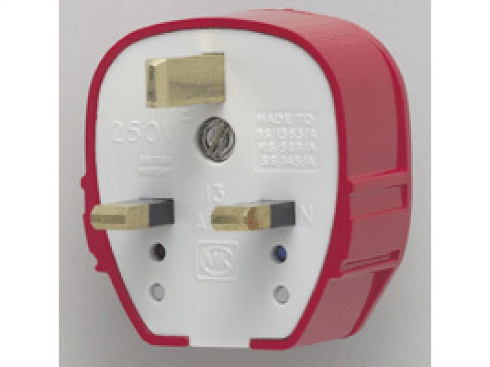 MK Plug Tops 655RED Red Fused Tough Plug 13A