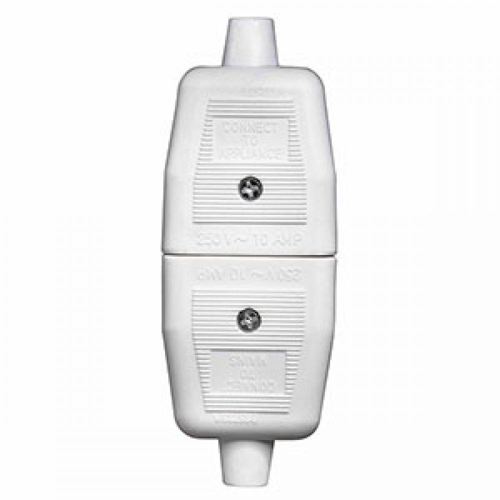 BG Heavy Duty Inline 3 Pin Connector White