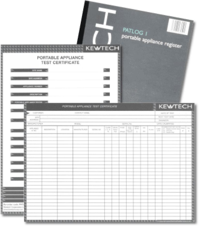 Kewtech PATLOG1 Portable Appliance Register (Pack 50)