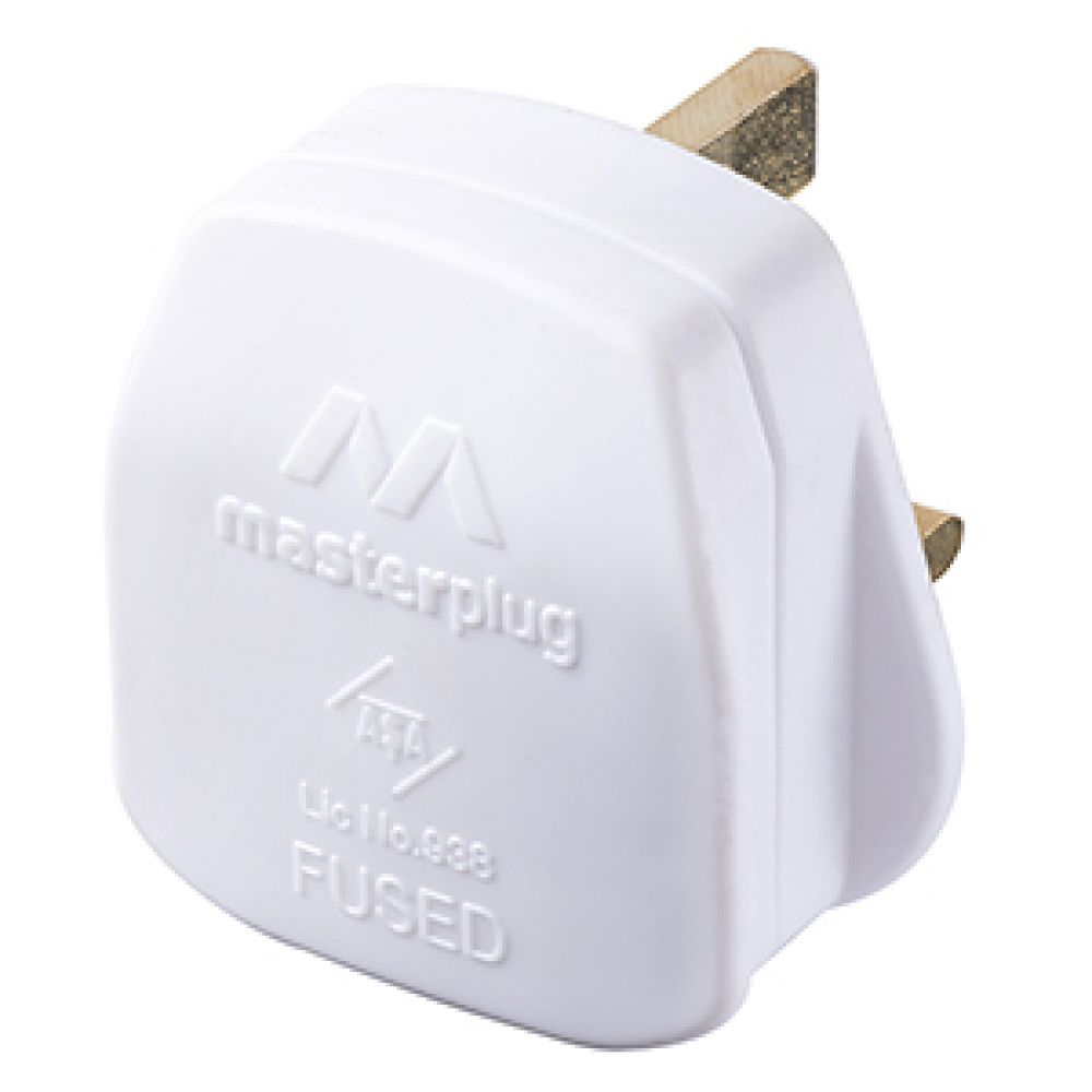 BG 13A Plug Fitted with 13A Fuse - White