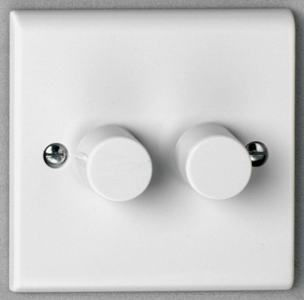 Deta S1254 2 Gang 2 way 400w Push On/Off Dimmer Switch