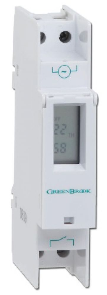 Greenbrook Digital Compact Din Rail Mounting Timer with 7 day or 24hr programming