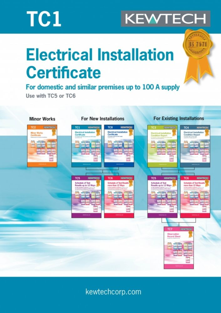 Kewtech Electrical Installation Certificate for up to 100A Supply
