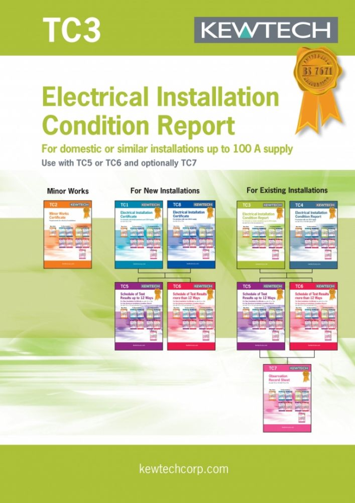 Kewtech Elect. Installation condition report for up to 100A Supply
