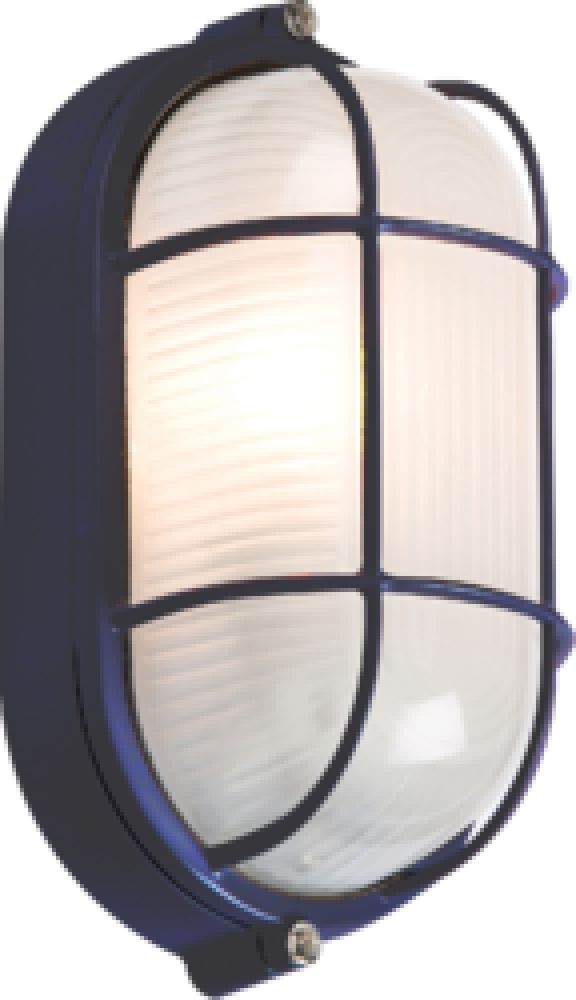 Knightsbridge IP54 60W Black Oval Bulkhead with wire Guard and Glass Diffuser