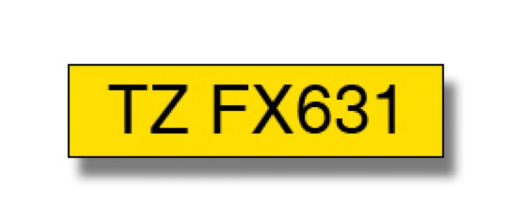 Brother TZFX631 Black on Yellow Gloss Laminated P-touch labelling tape 12mm x 8m