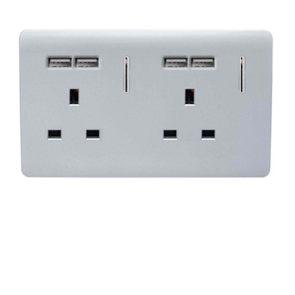 Trendiswitch screwless 2 gang socket with 4 USB sockets Gloss Silver