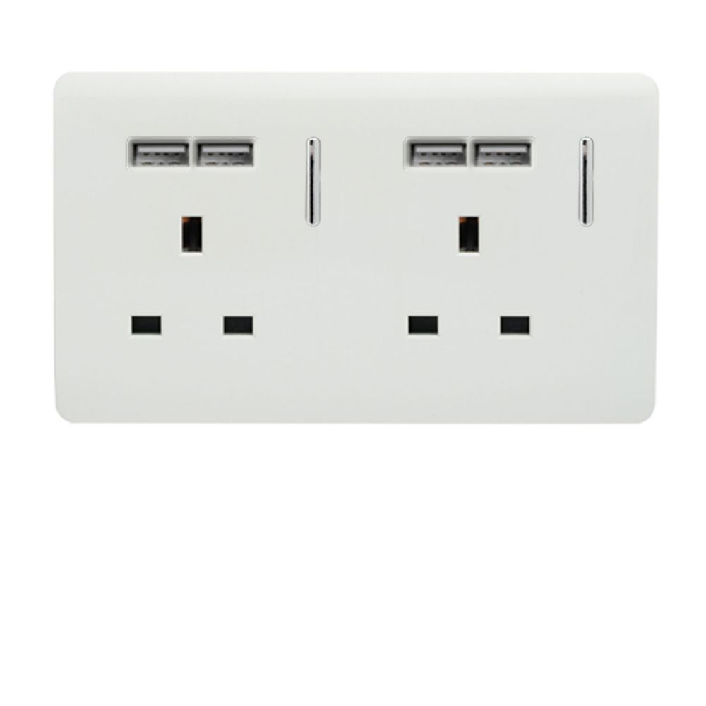 Trendiswitch screwless 2 gang socket with 4 USB sockets Gloss White