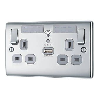 BG Nexus Wi-Fi Socket Range Extender Plus USB Port - Polished Chrome