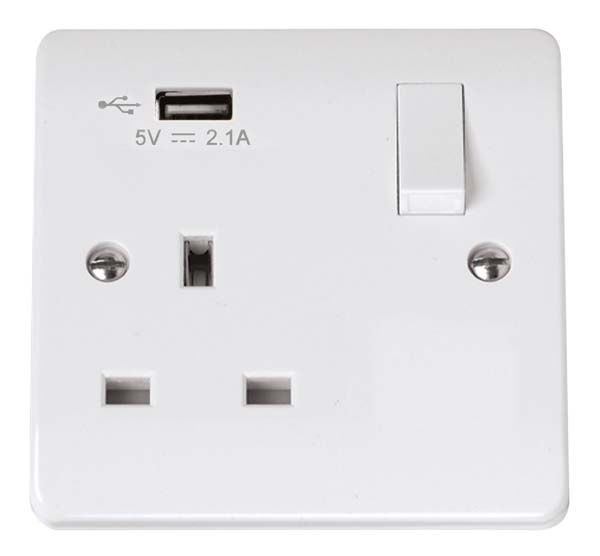 Scolmore Mode 1 Gang Switched Socket with USB outlet