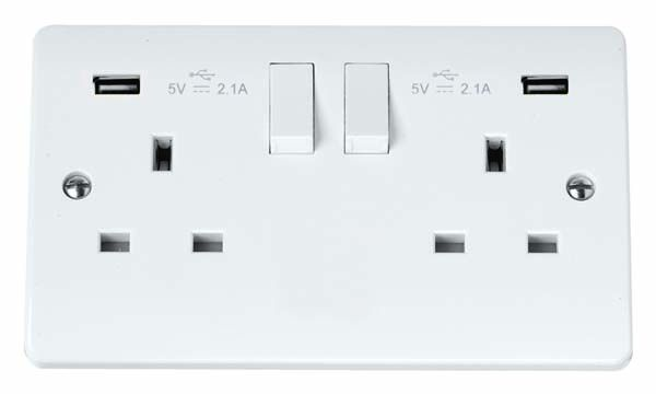Scolmore Mode 2 Gang Switched Socket with twin USB outlets